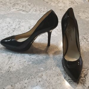 Nine west black patent leather pumps